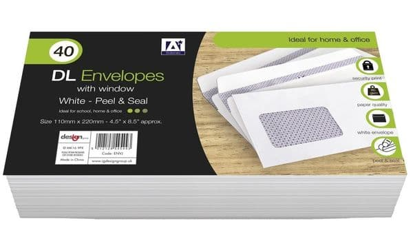 Anker DL Peel & Seal Envelopes With Window - Pack 40 White